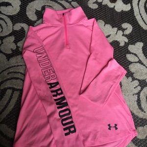 Under Armour Girls Pink Quarter ZIP pullover